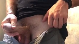 Jock Whips Huge Cock & Balls Out for a Long Piss at the Club (BEST SPYVID)!